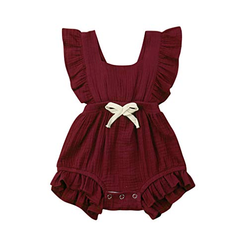 WOCACHI Toddler Baby Girls Clothes, Newborn Infant Baby Girls Color Solid Ruffles Backcross Romper Bodysuit Outfits Infant Bodysuits Rompers Clothing Sets Christening Short Sleeve Bow Organic ()