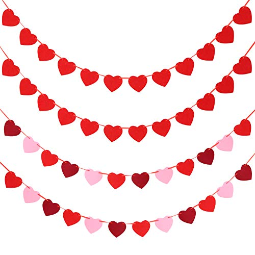 Tatuo 4 Sets Valentine's Day Heart Banners Felt Heart Garlands Holiday Hanging Decorations for Wedding Party Birthday Supplies (Color Set 3) -