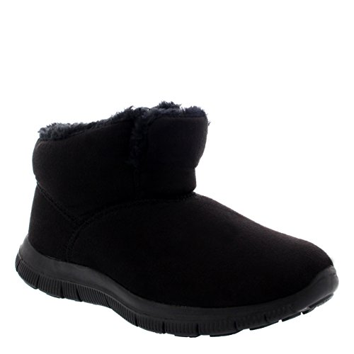 Get Fit Mujer Caliente Pelaje Botín Zapatos Para Caminar Invierno Entrenadores Negro