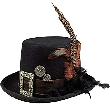 Adult Steampunk Hat With Goggles Black Brown Fancy Dress Halloween Victorian