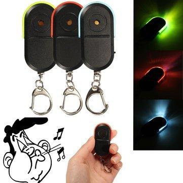 Key Finder Locator - Key Finder Keychain - Wireless Anti Lost Alarm Key Finder Locator Keychain Whistle Sound with LED - Green (Key Finder -