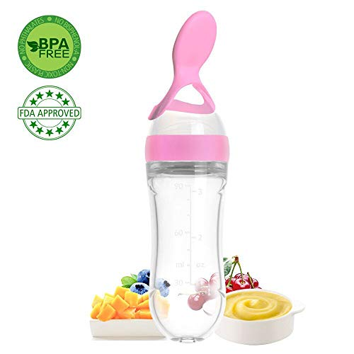 - Lyonice Silicone Squeeze Bottle Spoon - Baby Feeding Cereal, Rice, Juice, Infant Newborn Toddler Baby Food Dispensing Spoon- 90ml Pink