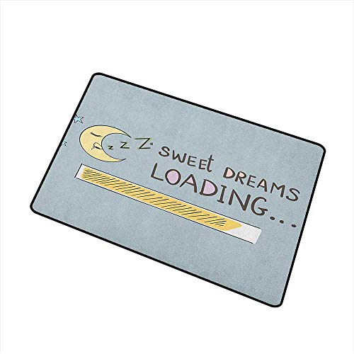 Sillgt Sweet Dreams Indoor Doormat Sweet Dreams Loading Concept with Progress Bar Design and Funny Moon Asleep with No-Slip Backing 16
