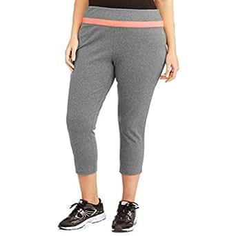 DANSKIN NOW Gray Moisture Wicking Cotton Spandex Capri Ankle Pants (2X Waist: 40-46 Hip 48-56 Inseam 21 Rise 12)