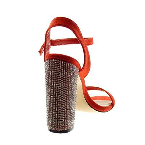 Angkorly Zapatillas Moda Sandalias Tacón escarpín Correa de Tobillo Mujer Strass Tanga Tacón Ancho Alto 12 cm Rojo