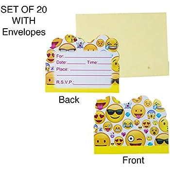 amazon com emoji party invitations girl emoji birthday invitations