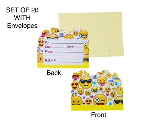 Costume Party Invitations Printable (Emoji Party Invitation Card With Envelopes Set of 20 for Boy Girl Kid Happy Birthday Supplies Graduation Celebration Teen Greetings Postcard Bonus 3 Sheet Funny Favor Decoration Sticker)