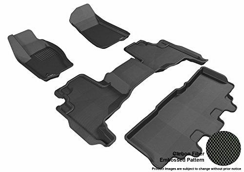 - 3D MAXpider Complete Set Custom Fit All-Weather Floor Mat for Select Jeep Commander Models - Kagu Rubber (Black)