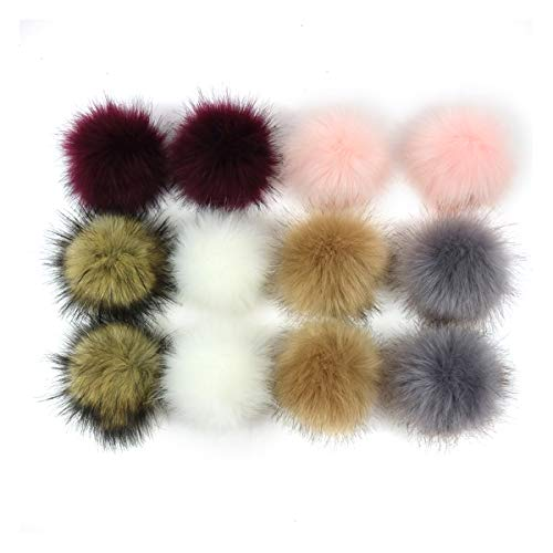ZOONAI 12pcs Faux Fox Fur Fluffy Pompom Ball For Beanie Hats Shoes Scarves Bag Charms Accessories (F) from ZOONAI