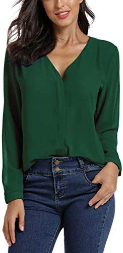 EXCHIC Women's Casual V-Neck Chiffon Blouse Solid Long Sleeve Top Shirt