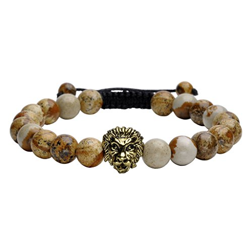 - Jovivi 8mm Handmade Lion Head Macrame Adjustable Lava/Matte Agate/Picture/Dragon Stone Gemstone Beaded Bracelet,Unisex