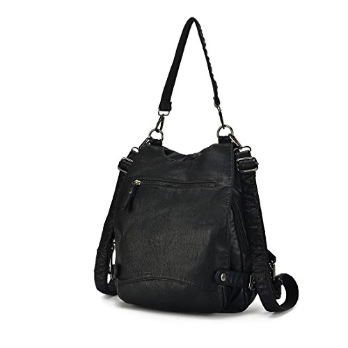 Crossbody Bag Alovhad Women Capacity Rucksack Backpack Washed Purse Leather Shoulder Black Purse Large gv4zWqgr
