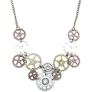 Halloween Steampunk Accessories Clock Gear Statement Necklace Vintage Costume Jewelry Mixed Metal
