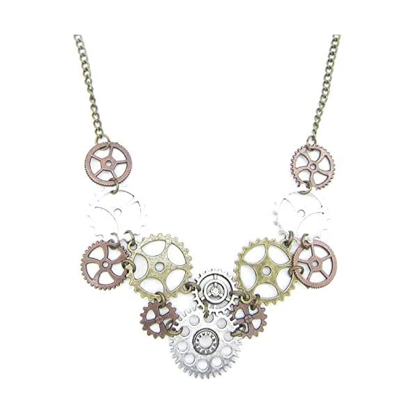 Halloween Steampunk Accessories Clock Gear Statement Necklace Vintage Costume Jewelry Mixed Metal 3