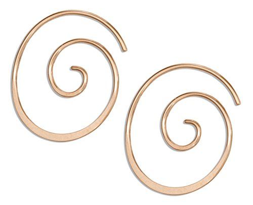 14 Karat Rose Gold Filled 22mm Curly Spiral Threader Wire Hoop Earring (Filled Gold Earrings Spiral)