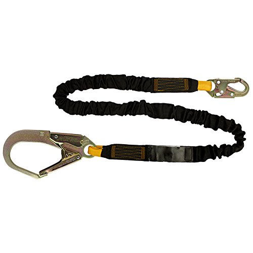 Fusion Climb 4ft 48''x2'' Internal Shock Absorbing Fall Protection Safety Lanyard with HS Steel Snap Rebar Hooks 23kN Black by Fusion Climb