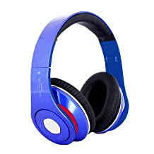 Savania Noise-Cancelling Buletooth Foldable Headphone Wireless Bluetooth Headsets With TF Card Slot FM (Blue)