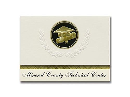 Signature Announcements Mineral County Technical Center (Keyser, WV) Graduation Announcements, Presidential style, Elite package of 25 Cap & Diploma Seal Black & Gold