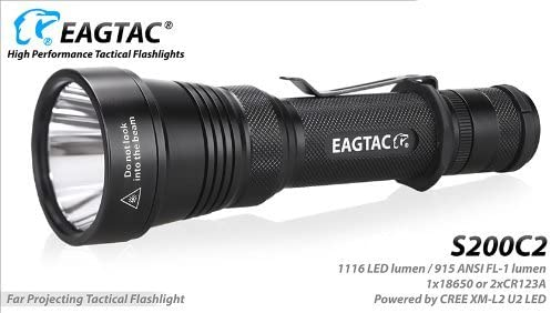 EagleTac S200C2 1116 Lumens 417 Yards Long Throwing Rechargeable LED Flashlight