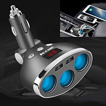 Uniqus ACCNIC 3 Multi-Functional Cigarette Socket Lighter Splitter with 2 USB Ports 3.1A Phone Car Charger