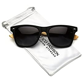 Polarized Classic Horm Rimmed Frame Sunglasses with Bamboo Wood Arms 10 Classic Horn Rim Frame Style Sunglass Arms Made out of Bamboo Polarized Lenses reduce glare / 100% UV Protection