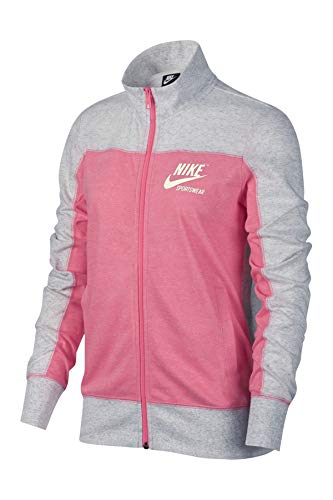 Ladies N98 Track Jacket - Nike Women's Sportswear Gym Vintage Color Block Full-Zip Track Jacket (Birch Heather/Lotus Pink/Sail, Medium)