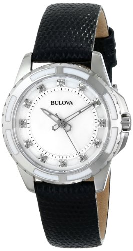 Bulova Women's 98P139 Analog Display Japanese Quartz Black (Ladies Diamond White Mop Dial)