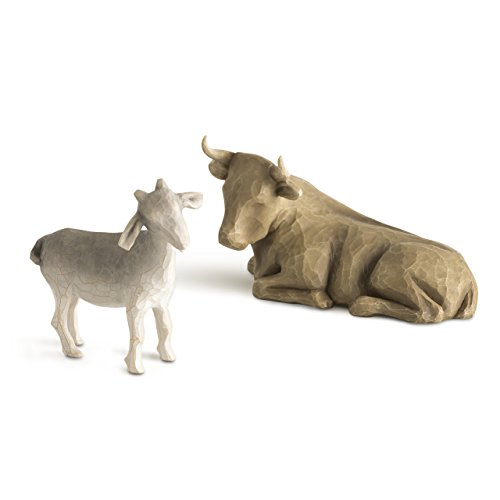 Design Hand Painted Collectible - Willow Tree hand-painted sculpted figures, Ox and Goat, 2-piece set