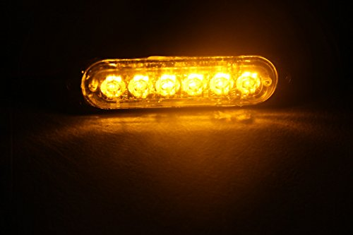 GPPOWER Universal super thin 6-LED Amber 19-Flashing Mode Car Truck Warning Caution Emergency Construction Strobe Light Bar (1PC, Amber)