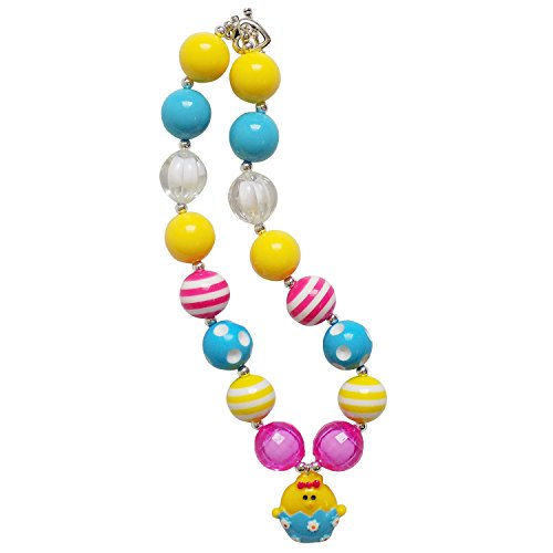 Chunky Bubblegum Beads Beaded Necklace for Little Girls, Kids, Teens, & Moms (Chick Easter Egg - Blue & Yellow) (Easter Egg Costumes For Adults)