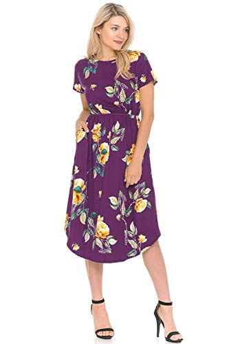 iconic luxe Women's Short Sleeve Flare Midi Dress with Pockets Small Floral Violet Mustard