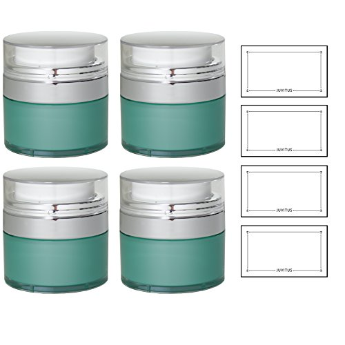 Teal Blue Airless Refillable Jar 1 oz / 30 ml (4 pack) + Labels - keeps out bacteria and air changing oxidation from your skin care products - durable, leak proof, and shatterproof for home or travel