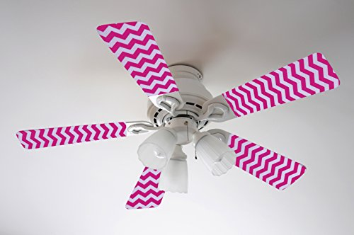 Fancy Blade Ceiling Fan Accessories Blade Cover Decoration, Pink Chevron (Fancy Fan)