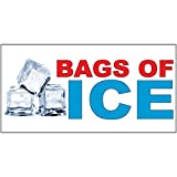 Bags Of Ice Red Blue Food Bar Restaurant Food Truck DECAL STICKER Retail Store Sign - 14.5 x 36 inches