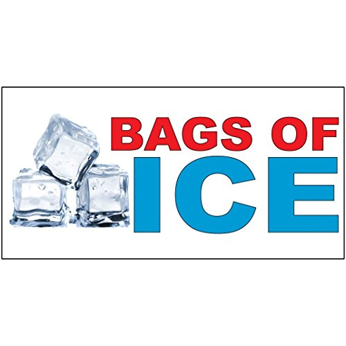 Bags Of Ice Red Blue Food Bar Restaurant Food Truck DECAL STICKER Retail Store Sign - 14.5 x 36 inches by Fastasticdeals
