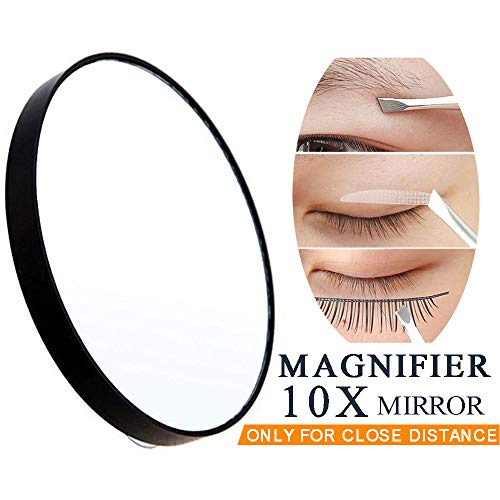 10X Magnifying Makeup Mirror, Round Mirror 2 Suction Cups Facial Makeup Cosmetic Absorption Shaving Home Makeup Travel Essential(Diameter 3.46 inches)