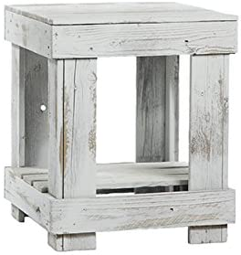 Del Hutson Designs - Rustic Barnwood End Table, USA Handmade Reclaimed Wood (White)