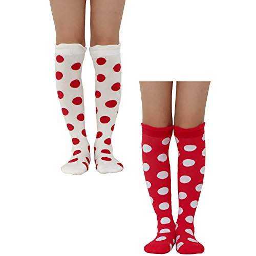 Girls Knee High Cotton Socks Pack of 2 Red Beige Dot Dress Seamless Legging Medium ()