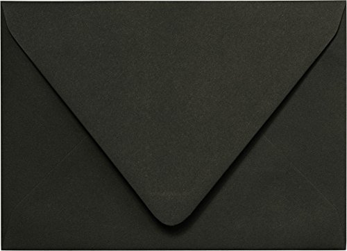 Outer Envelopes - Outer A-7.5 Solid (Matte) Black Euro Flap Envelopes (5 1/2