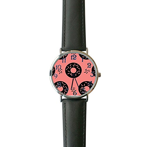 Women's Abstract Pink Geo Donut Casual Watch Fashion Leather Analog Wrist Watches ()