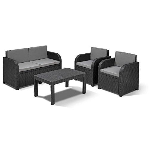 Allibert Lounge Sitzgruppe Mississippi Tisch Gartenmöbel Rattanmöbel