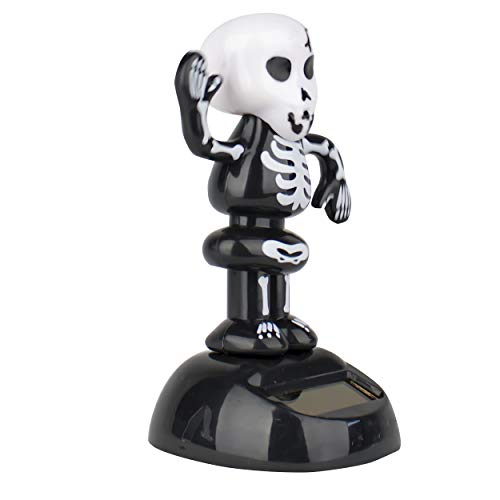 6goodeals Solar Power Motion Halloween, Solar Toy Light Activated Car Office Home Cubicle Holiday Decor Cute Novelty Gift Suncatcher (Black Skeleton)]()