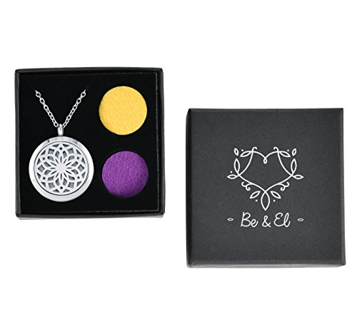 Be & El Essential Oil Necklace - Diffuser Oils Necklaces Set with 12 Refill Pads - Stainless Steel Aroma Diffusing Locket Pendant with Chain - Aromatherapy Holder for Women, Men, Kids, Boys, Girls by Be & El