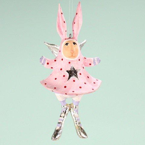 Patience Brewster Mini Pandora Bunny Christmas Figural Ornament 08-30950 - Krinkles Christmas Reindeer