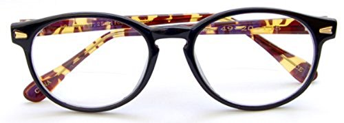 The Actor BIFOCAL Unisex Round Reading Glasses, Full Frame Readers for Men and Women in Black and Tortoise +1.25 (Microfiber Soft Pouch Included)