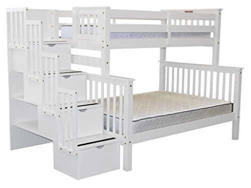 Bedz King Stairway Bunk Bed Twin over Full with 4 Drawers in the Steps, White