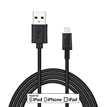 EZOPower Extra Long 10ft Apple Certified 8-Pin Lightning to USB Cable Sync & Charge Data Cable for iPhone 5 / 5S / 5C (IOS7 Supported), iPad Air, iPad Mini with Retina Display, iPad 4, iPad Mini, iPod Touch 5th, Nano 7th Generation (Black)