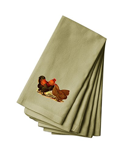 (Style In Print Canvas Dinner Napkin Set of 4 Rooster and Chicken Vintage Look)