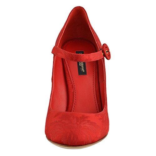 Dolce & Gabbana Women's Silk Red High Heels Mary Janes Shoes US 10 IT 40;
