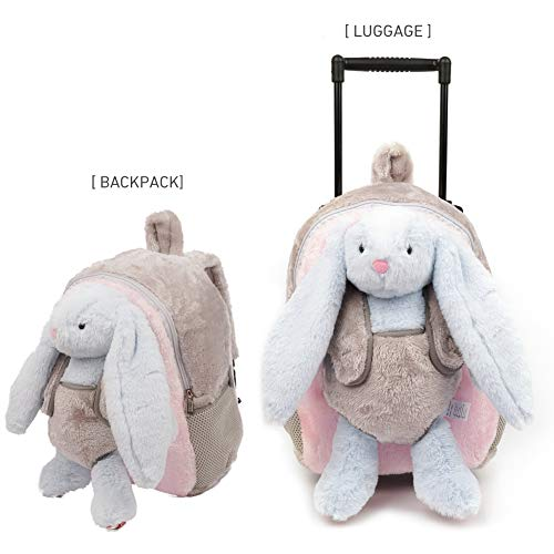 Lion Bunny - Funday 3-Way Toddler Backpack with Removable Wheels - Little Kids Luggage Backpack with Stuffed Animal Toy Light Blue Rabbit for Toddler Boys and Girls